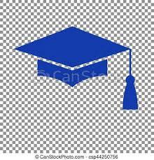 blue graduation cap mortar board or graduation cap education symbol blue icon