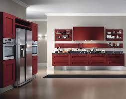 kitchen dark red kitchen cabinet white tile flooring electric