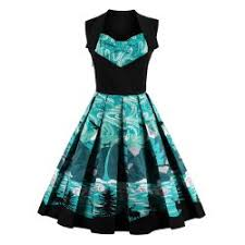 dress cheap fit and flare print vintage dress sale online at cheap prices