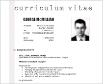 cv examples and format