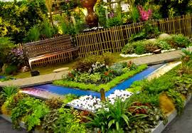 architectures traditional landscape design with flower bed front