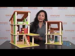 Plan Toys Parking Garage Canada by Chalet Dollhouse With Furniture From Plan Toys Youtube