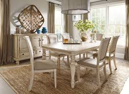 ashley demarlos parchment white color 7pc dining table side chairs set