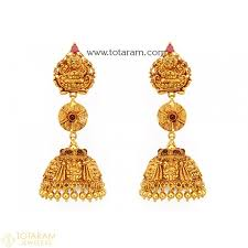 new fashion gold earrings temple jewellery earrings jhumkas in 22k gold made in india