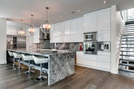 marble island breakfast bar kitchen lighting contemporary