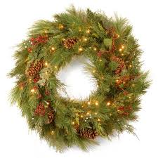 30 pre lit battery operated white pine artificial wreath