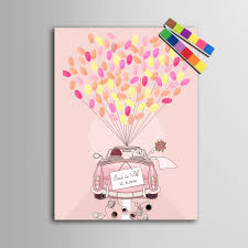 Wedding Gift Decoration Online Shop Fingerprint Balloon Signature Canvas Painting Pink