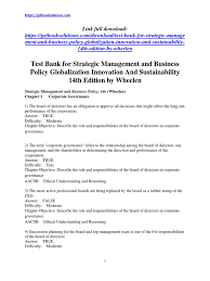 test bank for strategic management and business policy