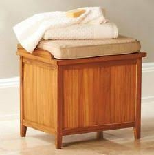 hamper bench with cushion teak bathroom storage seating towels