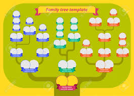 Family Tree Template Modern Flat Style Illustration Of Tree Family Tree Template