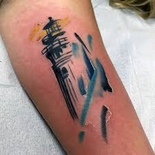 Lighthouse Tattoo Ideas Small Mens Watercolor Lighthouse Tattoo In Blue And Yello Ink