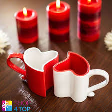heart shaped mugs that fit together heart shaped 2 mugs cups coffee tea ceramic white