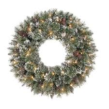 martha stewart living 30 in sparkling pine artificial wreath with