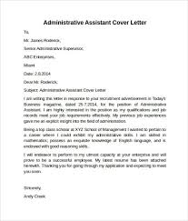 cover letter sample administrative assistant excellent sample of