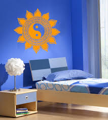 Yoga Home Decor by Yoga Vinyl Wall Decal Mandala Sun Flower Indian Yin Yang Home