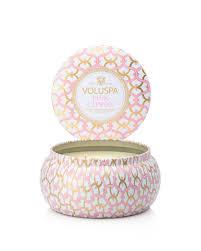 maison metallo 2 wick candle in pink citron design by voluspa