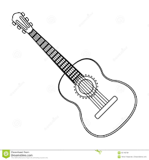spanish acoustic guitar icon in outline style isolated on white