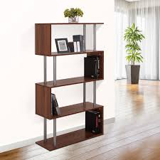 homcom wooden bookcase s shape storage display unit 4 shelf home