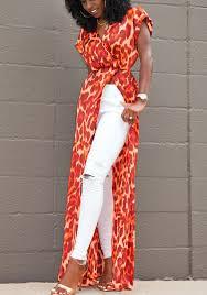 maxi dresses leopard slit v neck sleeve bohemian maxi dress maxi