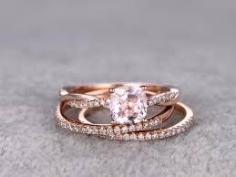 morganite wedding set 1 carat cushion cut morganite wedding set twisted diamond bridal