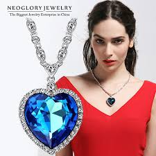 crystal love heart necklace images Neoglory three colors big austrian crystal heart love maxi boho jpg