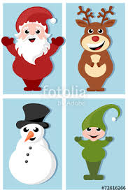 santa claus rudolph elf snowman cartoon characters