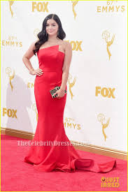 ariel winter red strapless formal dress 2015 emmy awards red