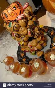 a spooky spread of halloween party finger food stock photo