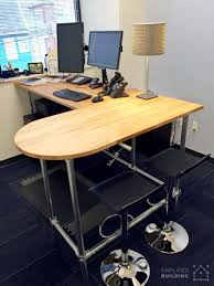 U Shaped Gaming Desk by 37 Diy Standing Desks Built With Pipe And Kee Klamp Simplified