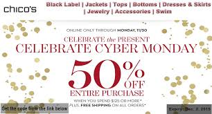 chicos coupons chicos is offering cyber monday deal get 50 discount on all