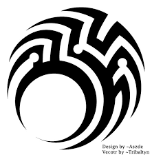 passionate black color ink tribal circle tattoo design art for