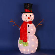 22 lighted 3 d snowman with top hat and twig arms outdoor