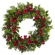 boxwood wreath nearly 24 in berry boxwood wreath 4555 the home depot