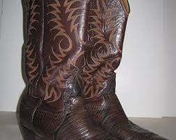 womens cowboy boots size 11 1 2 vintage cowboy boots 1980s justin brown lizard leather