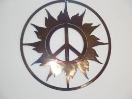 peace sign and sun metal wall decor by tibi291 on etsy