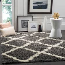 Carpets For Living Room by Safavieh Dallas Shag Ivory Gray 5 Ft 1 In X 7 Ft 6 In Area Rug