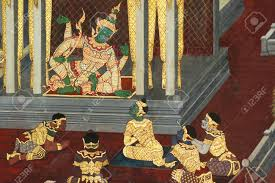 ravana order in the palace thai art painted on wall in buddhist