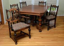 jacobean antique wood dining room set chairs table buffet china