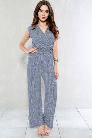 casual jumpsuit navy white printed sleeve pleated casual jumpsuit