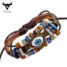 leather bracelet wristband images Punk design turkish evil eye bracelets wristband female genuine jpeg