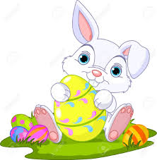 cute easter bunny holding easter egg royalty free cliparts