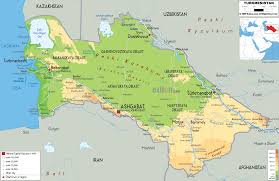 Map Of Europe Physical Features by Physical Map Of Turkmenistan Ezilon Maps