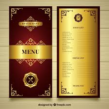 menu template golden menu template with style vector free