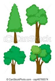 different types of trees four different types of trees illustration vectors illustration