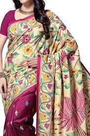 nakshi kantha beige pink violet lotus nakshi kantha soft silk saree with
