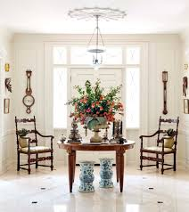 Antique Entryway Table Furniture Round Foyer Table Design With Cool White Painted Wall