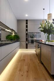 best 25 modern kitchen design ideas on pinterest contemporary fenix kitchen bench l pear artwork l wooden pendant lights l under cabinet led strip lighting