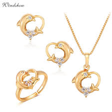heart charm pendant necklace images Children girls baby kids jewelry sets yellow gold color dolphin jpg