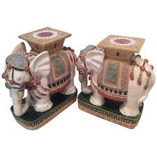 elephant garden stands stools vintage pair side end tables vietnam