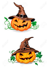 halloween hats cute pumpkin halloween lanterns with witch hats in cartoon style